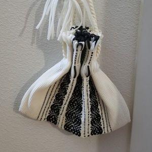 Vintage nylon black and white handbag 1960's